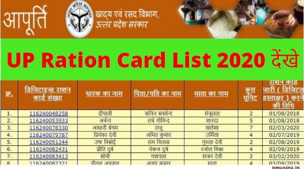 UP Ration Card List/ नई लिस्ट यूपी राशन कार्ड 2020